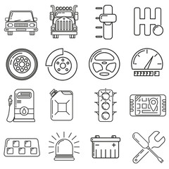 Icons on the theme of a motorist in the style of lines