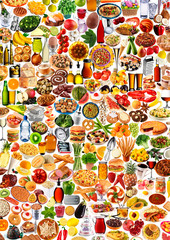 FOOD MONTAGE ON WHITE