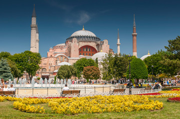 View of beautiful Hagia Sophia with a flowerbed with colorful flowers, Christian patriarchal basilica, imperial mosque and now a museum, Istanbul, Turkey.