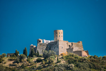 Collioure, France. Fort Saint Elme In Sunny Spring Day. Old Medi