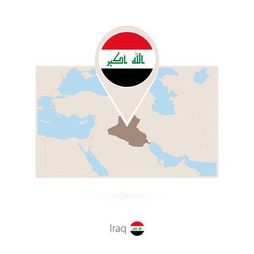 Rectangular map of Iraq with pin icon of Iraq