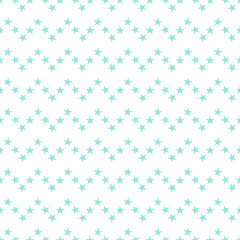 Seamless pattern with hand drawn cute little blue stars in a zigzag line on white background. Sky background. Vector illustration.