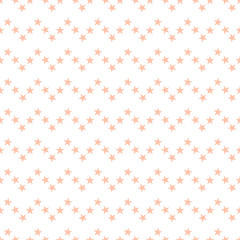 Seamless pattern with cute pastel orange stars on white background. Zigzag horizontal line  with stars background. Vector illustration.