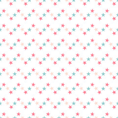 Cute colorful star seamless pattern on white. Funny festive background, wrapping paper. Vector illustration.