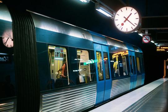 Stockholm, Sweden. Modern Illuminated Metro Underground Subway S