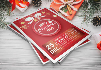 Christmas Party Flyer Layout with Ornament Illustration