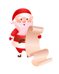 Surprised Santa Claus reading long list of Christmas presents. Character, wish, gift. Tradition concept. Can be used for topics like Christmas, New Year, celebration