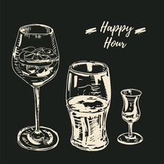 Happy hour drinks set. Vector illustration, chalk on blackboard style. Wine glass with a cocktail, beer glass, grappa glass