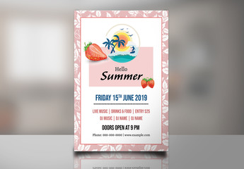 Pink and White Party Flyer Layout with Summer Theme