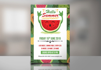 Flyer Layout with Tropical Fruit Theme