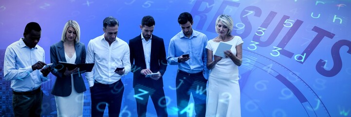 Composite image of business people using wireless technology
