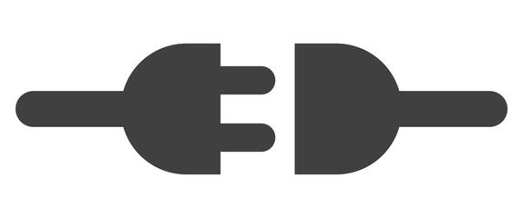 Electric connection icon on a white background. Isolated electric connection symbol with flat style.