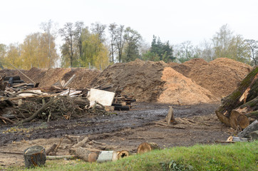 Waste sawmill in the form of a stack of boards and a mountain of sawdust.