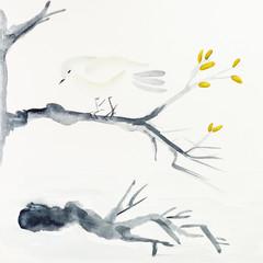 bird on tree branch drawn by black watercolors