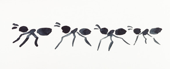 several ants drawn by black watercolors