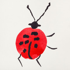 ladybug drawn by red and black watercolors