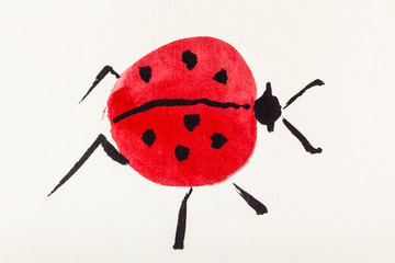 one ladybug drawn by watercolors