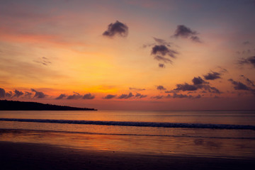 Sunset on the Jimbaran beach, Bali, Indonesia