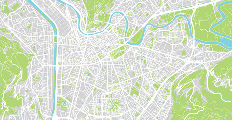 Urban vector city map of Grenoble, France