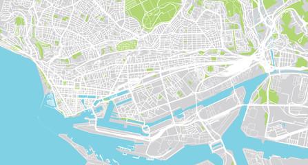 Urban vector city map of La Harve, France