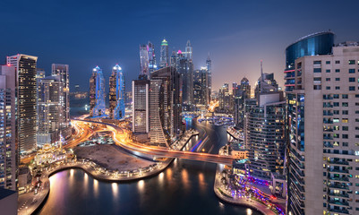 Dubai Marina Towers in the Blue Hour