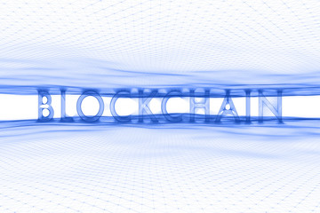 Blue blockchain word on white cyberspace network illustration background.