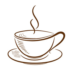 Cup with coffee beans on the white background. White cup with shadow in brown color is filled with a hot steaming drink. At the edge of the saucer are some coffee beans.