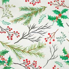 Watercolor decorative christmas botanical seamless pattern
