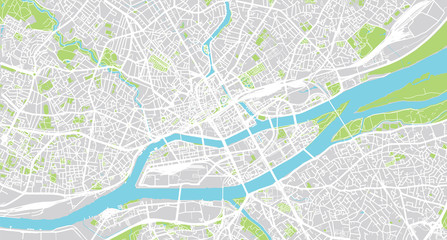 Urban vector city map of Nantes, France Fototapete