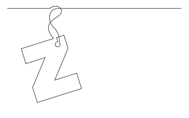 continuous line drawing of alphabet letter label design