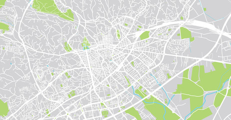 Urban vector city map of Nimes, France