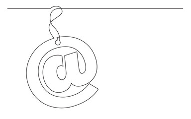 continuous line drawing of email sign label