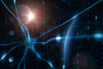 Artistic blue colored neuron in the brain with digital cyberspace network illustration background.