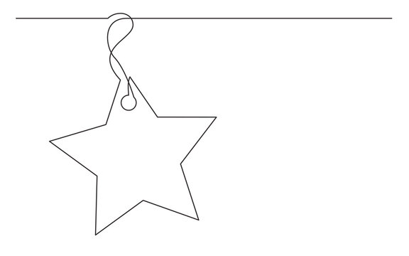continuous line drawing of star tag label design
