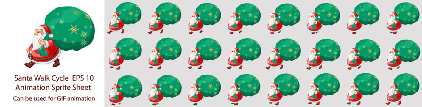 Christmas Santa walk cycle animation sprite sheet, Can be used for GIF animation.