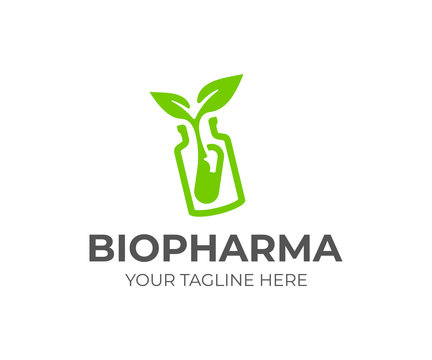 Nutraceuticals logo design. Phytopreparations vector design. Pill bottle with sprout logotype
