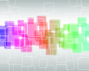 abstract geometric background line of transparent colored squares isolated on light gray background