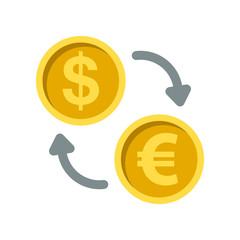 Exchange money flat icon on isolated white transparent background.