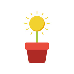 Grow up flat icon on isolated white transparent background.