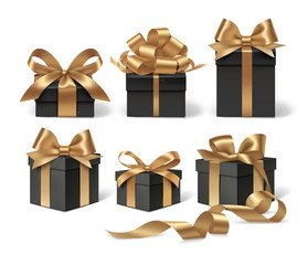 Set of decorative black gift boxes with golden bow for black friday sale design. Vector illustration. Holiday object isolated on white