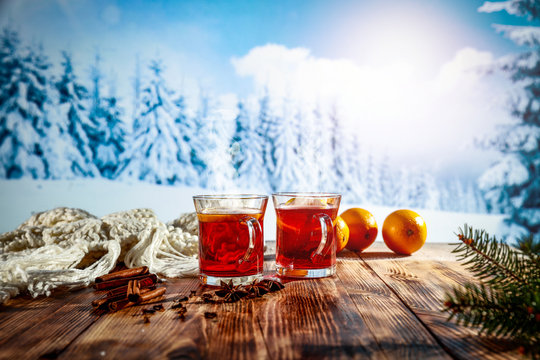 Hot mulled on desk and winter time