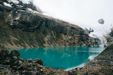 Mountain range and lake in Peru
