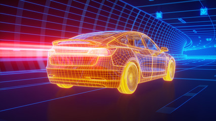 Yellow wireframe Modern Electric car rides through Blue tunnel 3d rendering