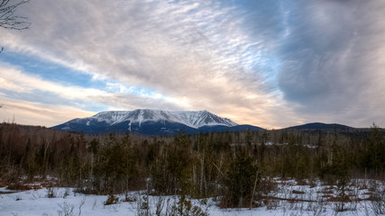 Canvas Prints Lavender Katahdin mountain landscape in the morning, Baxter state park, Maine, USA