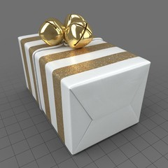 Wrapped Christmas gift with bells