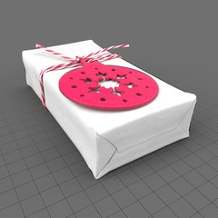 Wrapped christmas gift with festive tag