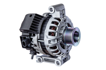 car alternator with shallow depth of field on white background Wall mural