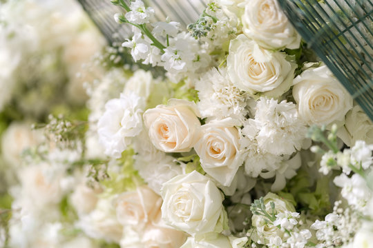Mixed wedding white roses flower,  Floral background