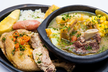 Traditional Colombian soup from the region of Santander called puchero