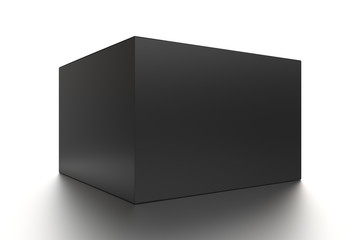 Black horizontal blank box from front side angle. 3D illustration isolated on white background.